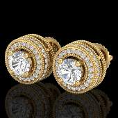209 CTW VSSI Diamond Solitaire Art Deco Stud Earrings