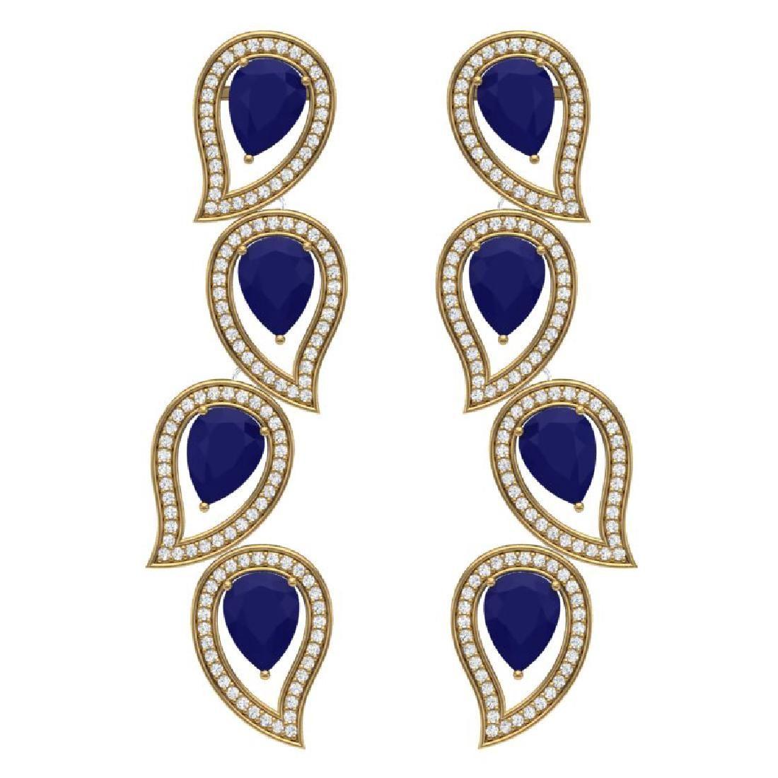 1644 CTW Royalty Sapphire VS Diamond Earrings 18K