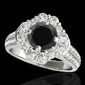 216 CTW Certified Vs Black Diamond Solitaire Halo Ring