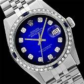 Rolex Ladies Stainless Steel Diam Dial DiamSapphire