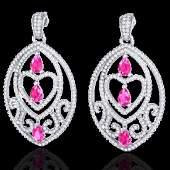 7 CTW Sapphire Pink  Micro Pave VSSI Diamond Heart
