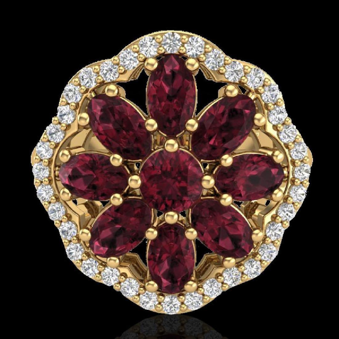 3 CTW Garnet & VS/SI Diamond Certified Cluster Designer - 2
