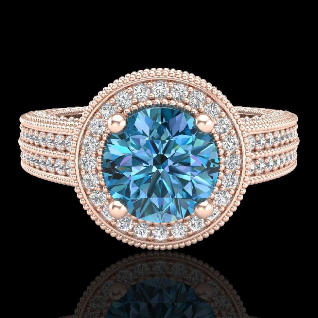 2.8 CTW Intense Blue Diamond Solitaire Engagement Art - 2