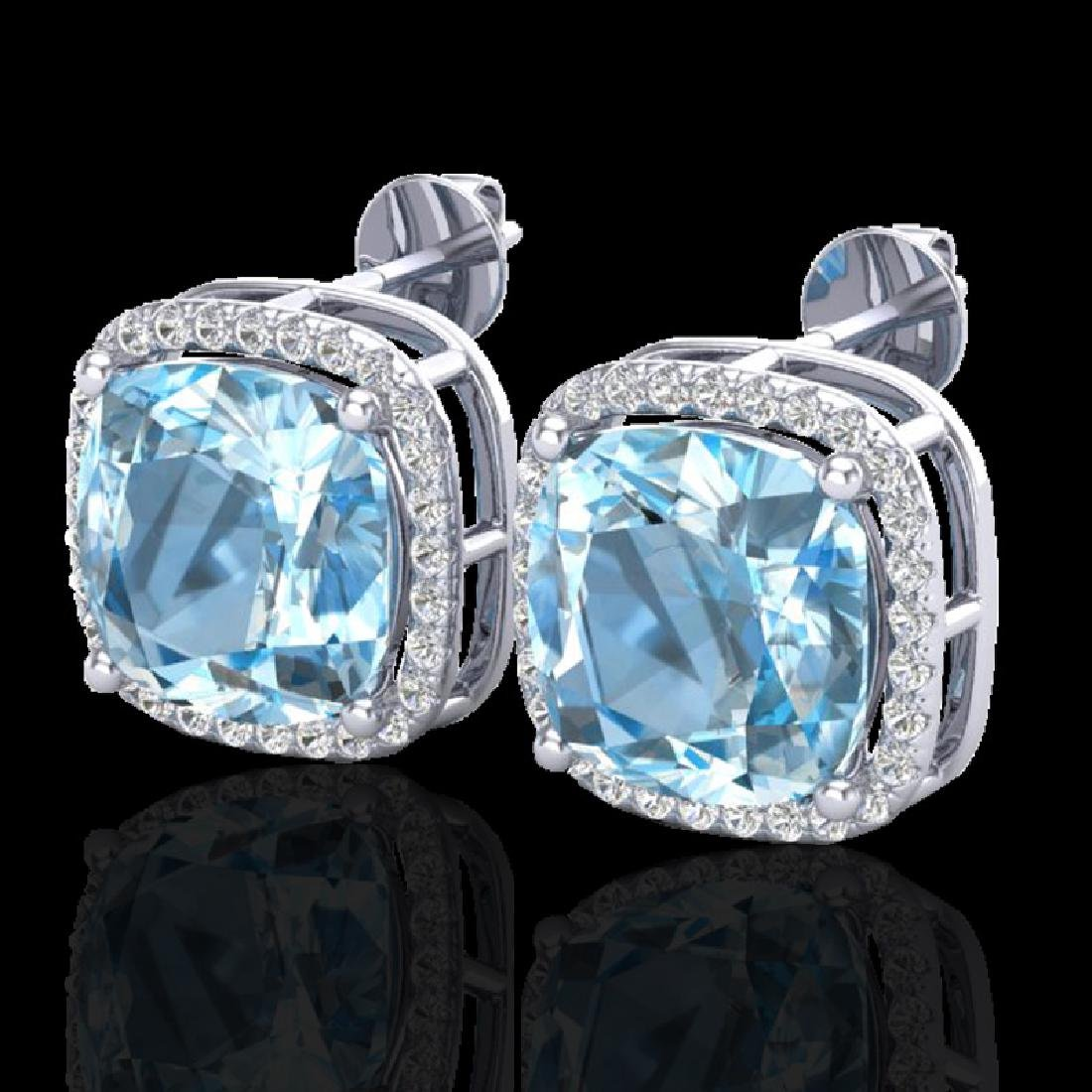12 CTW Sky Blue Topaz & Pave Halo VS/SI Diamond