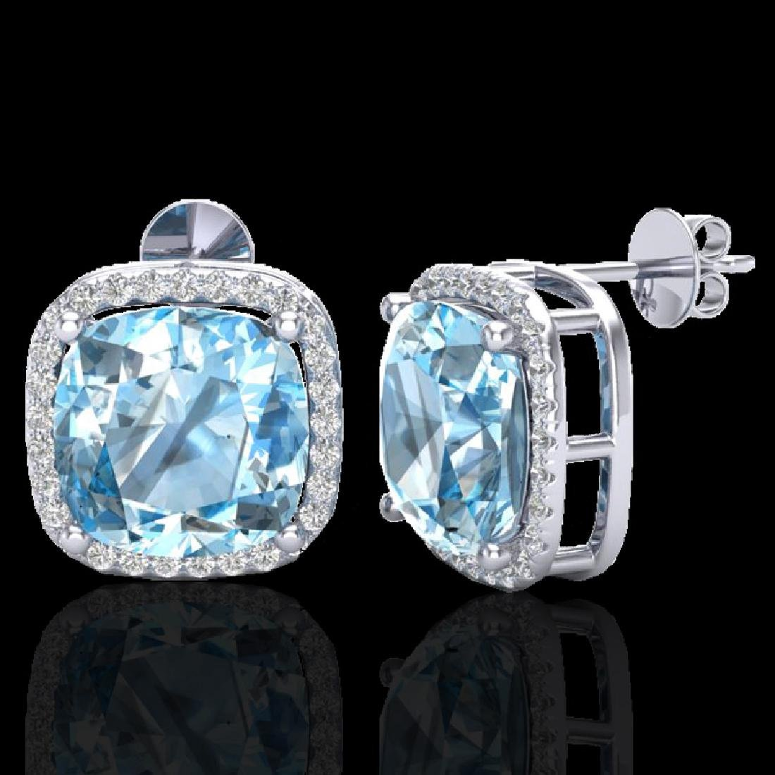 12 CTW Sky Blue Topaz & Pave Halo VS/SI Diamond - 2