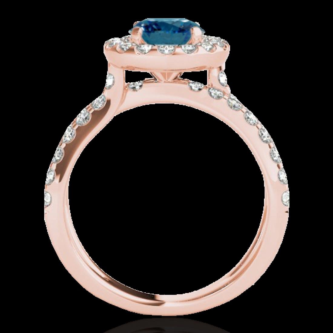 2.01 CTW SI Certified Fancy Blue Diamond Solitaire Halo - 2