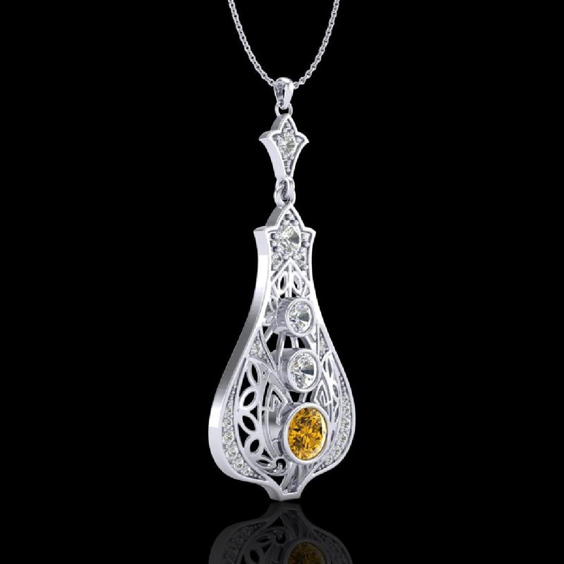 1.75 CTW Intense Fancy Yellow Diamond Art Deco Stud - 3