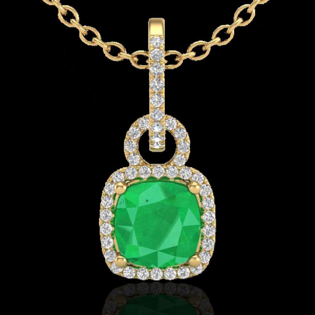 3 CTW Emerald & Micro VS/SI Diamond Certified Necklace - 2