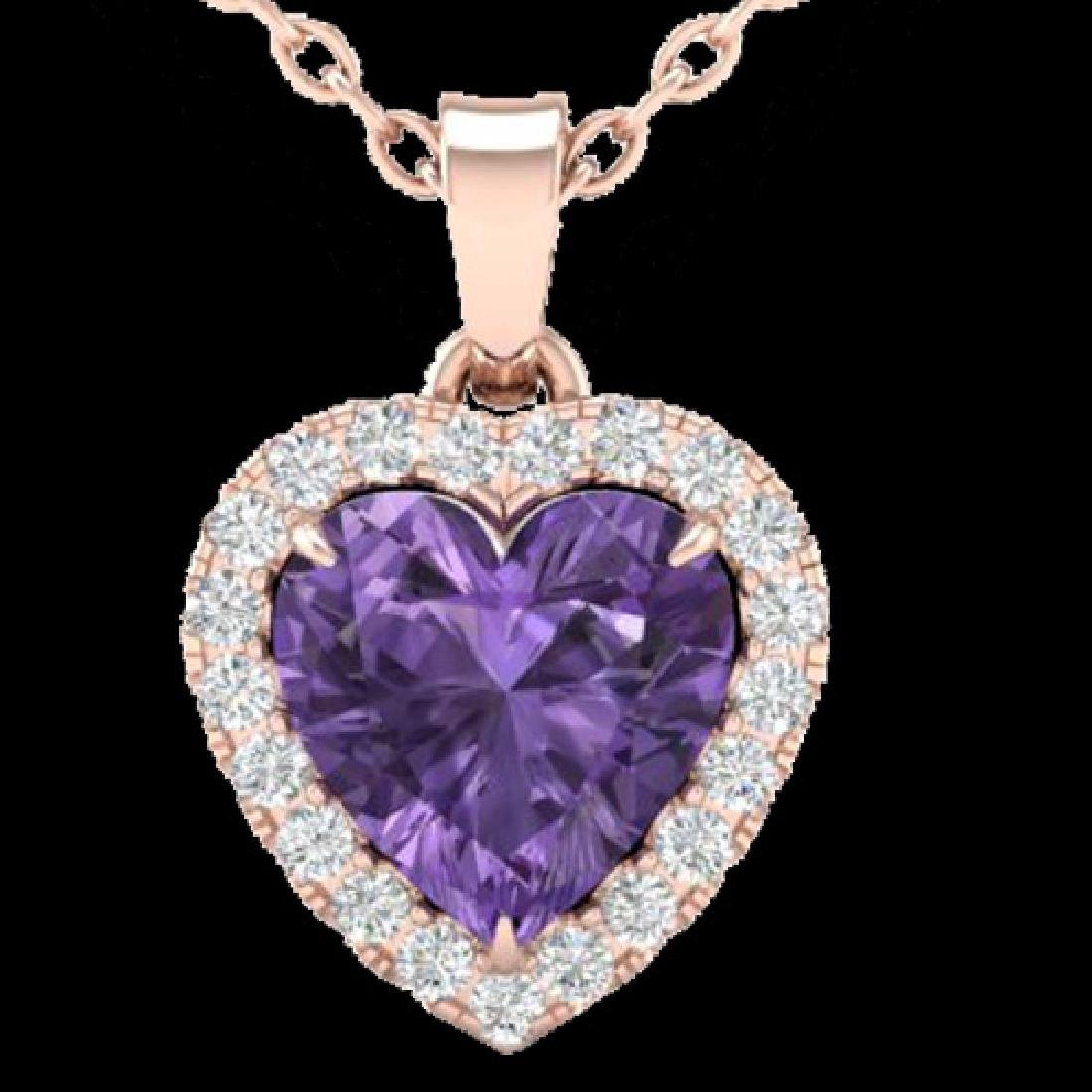 1 CTW Amethyst & Micro VS/SI Diamond Heart Necklace