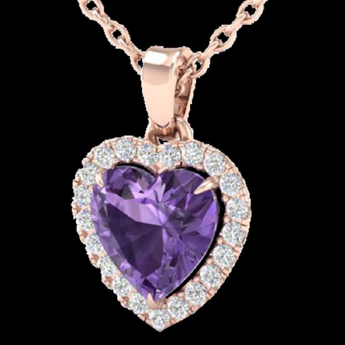1 CTW Amethyst & Micro VS/SI Diamond Heart Necklace - 2