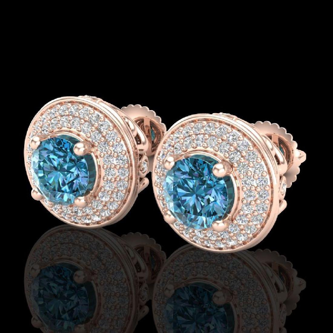 2.35 CTW Fancy Intense Blue Diamond Art Deco Stud