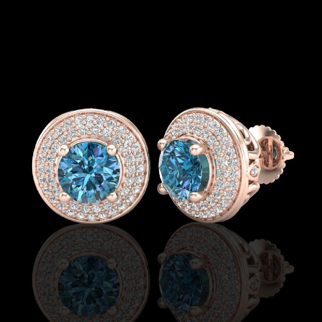 2.35 CTW Fancy Intense Blue Diamond Art Deco Stud - 2