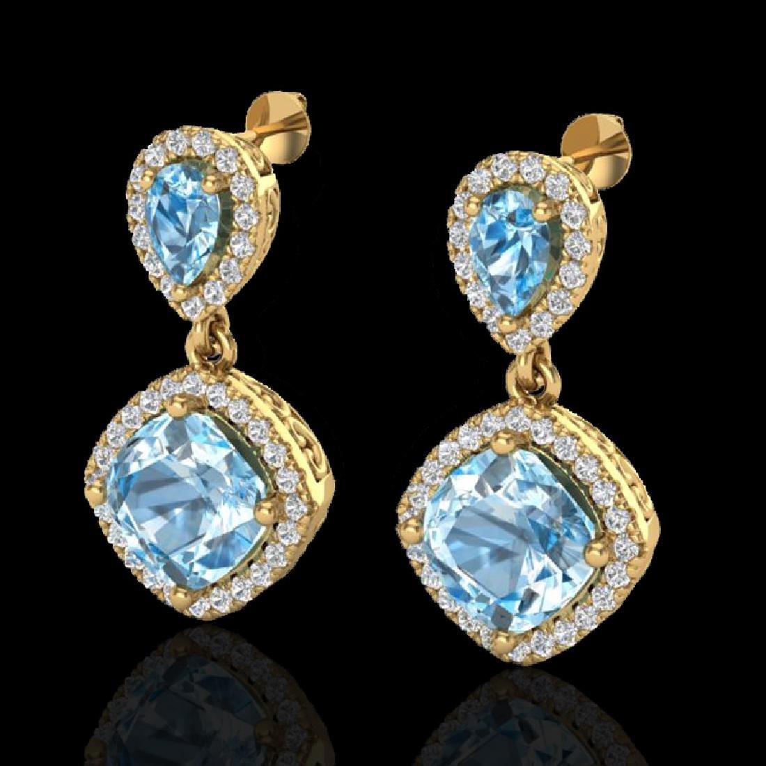 7 CTW Sky Blue Topaz & Micro VS/SI Diamond Certified