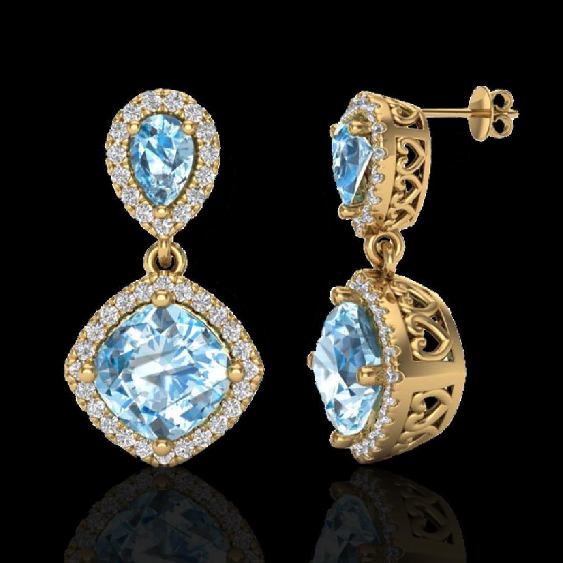 7 CTW Sky Blue Topaz & Micro VS/SI Diamond Certified - 2