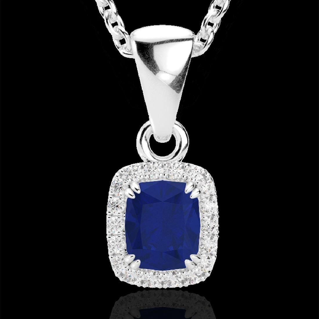 1.25 CTW Sapphire & VS/SI Diamond Certified Halo - 2