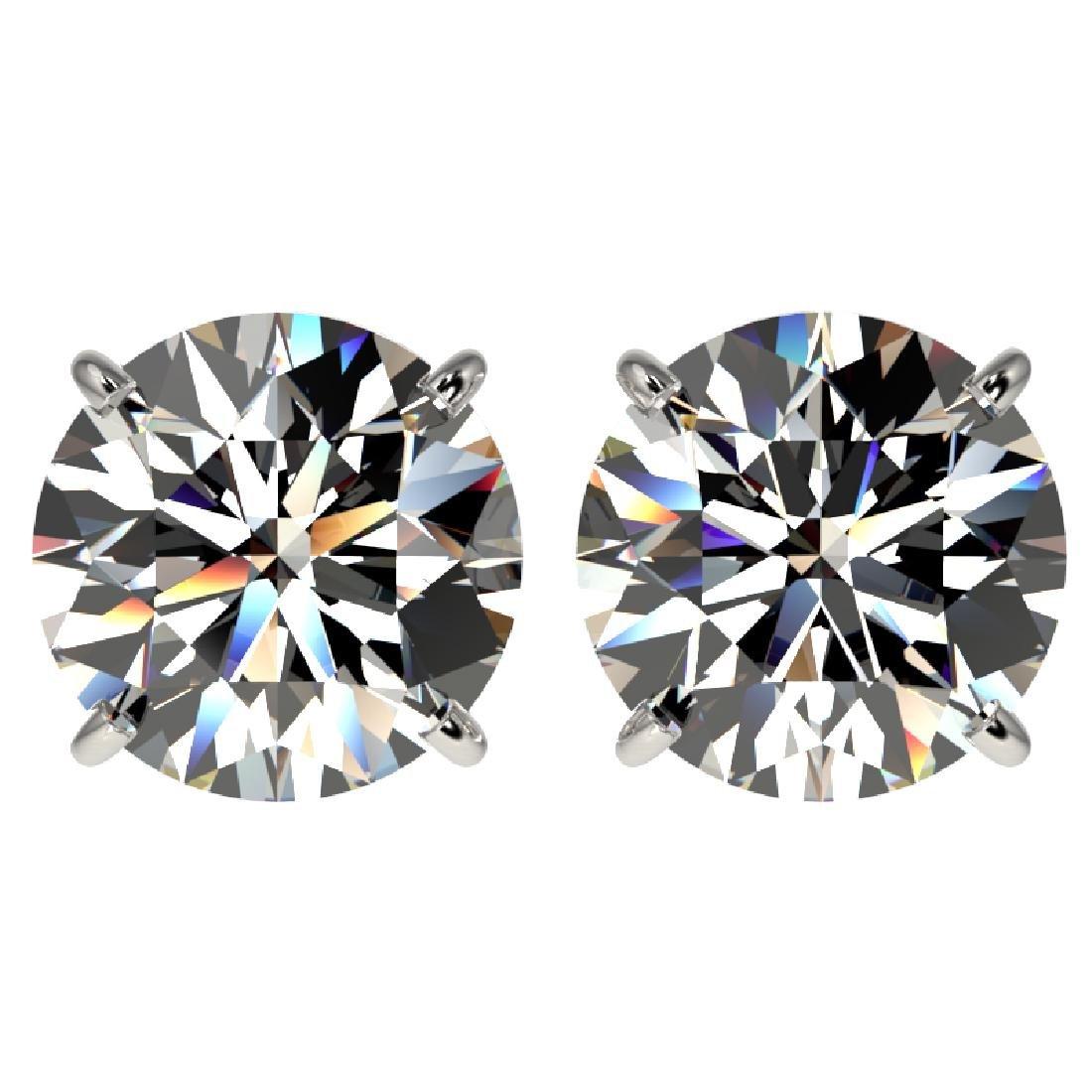 4.04 CTW Certified G-Si Quality Diamond Stud Earrings