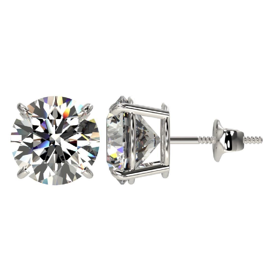 4.04 CTW Certified G-Si Quality Diamond Stud Earrings - 2