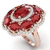 144 CTW Royalty Designer Ruby  VS Diamond Ring 18K