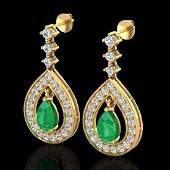 225 CTW Emerald  Micro Pave VSSI Diamond Earrings