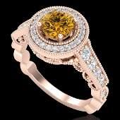 112 CTW Intense Fancy Yellow Diamond Engagment Art