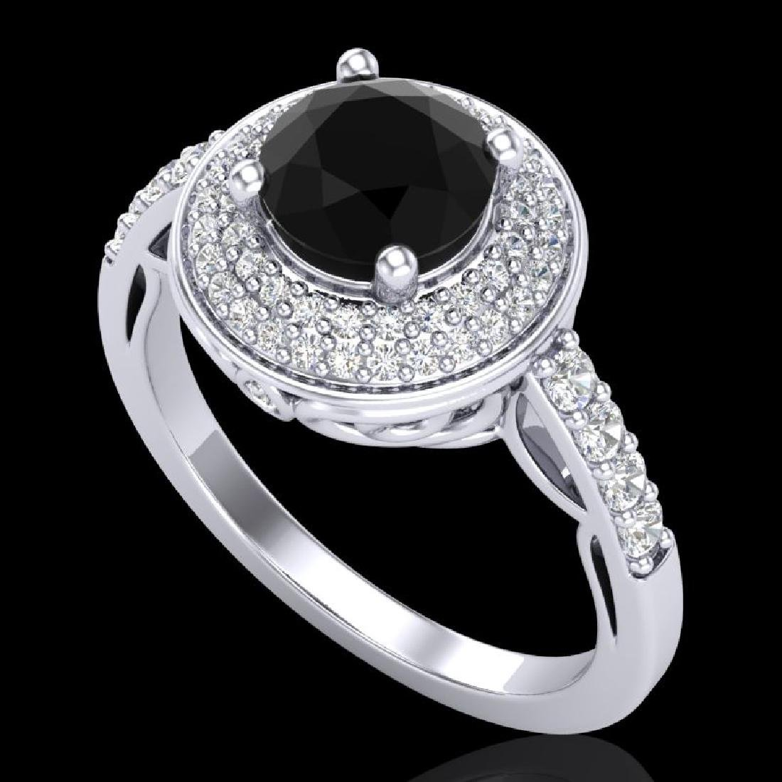 1.7 CTW Fancy Black Diamond Solitaire Engagment Art