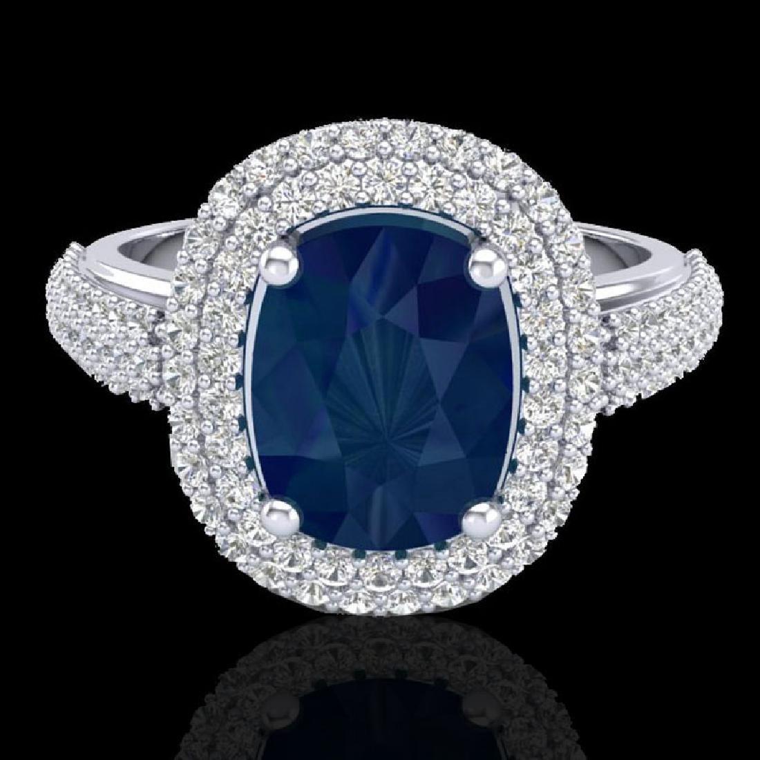 3.50 CTW Sapphire & Micro Pave VS/SI Diamond Certified