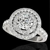 3 CTW HSII Certified Diamond Solitaire Halo Ring 10K