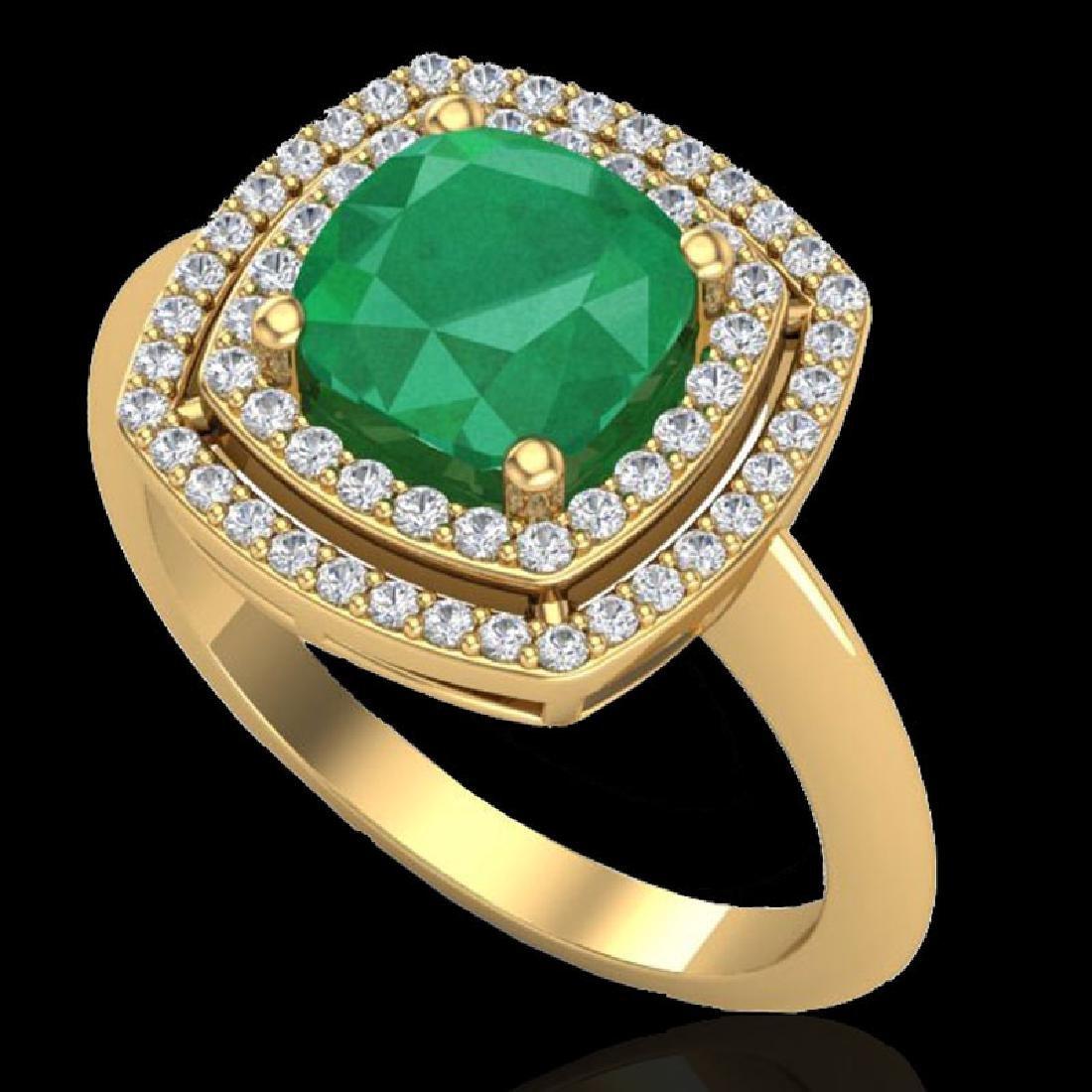 2.52 CTW Emerald & Micro VS/SI Diamond Certified Pave - 2
