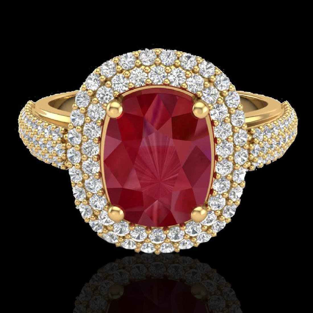 3.50 CTW Ruby & Micro Pave VS/SI Diamond Certified Halo