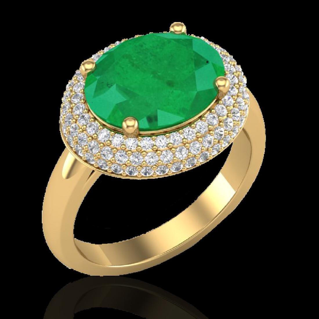 4.50 CTW Emerald & Micro Pave VS/SI Diamond Certified