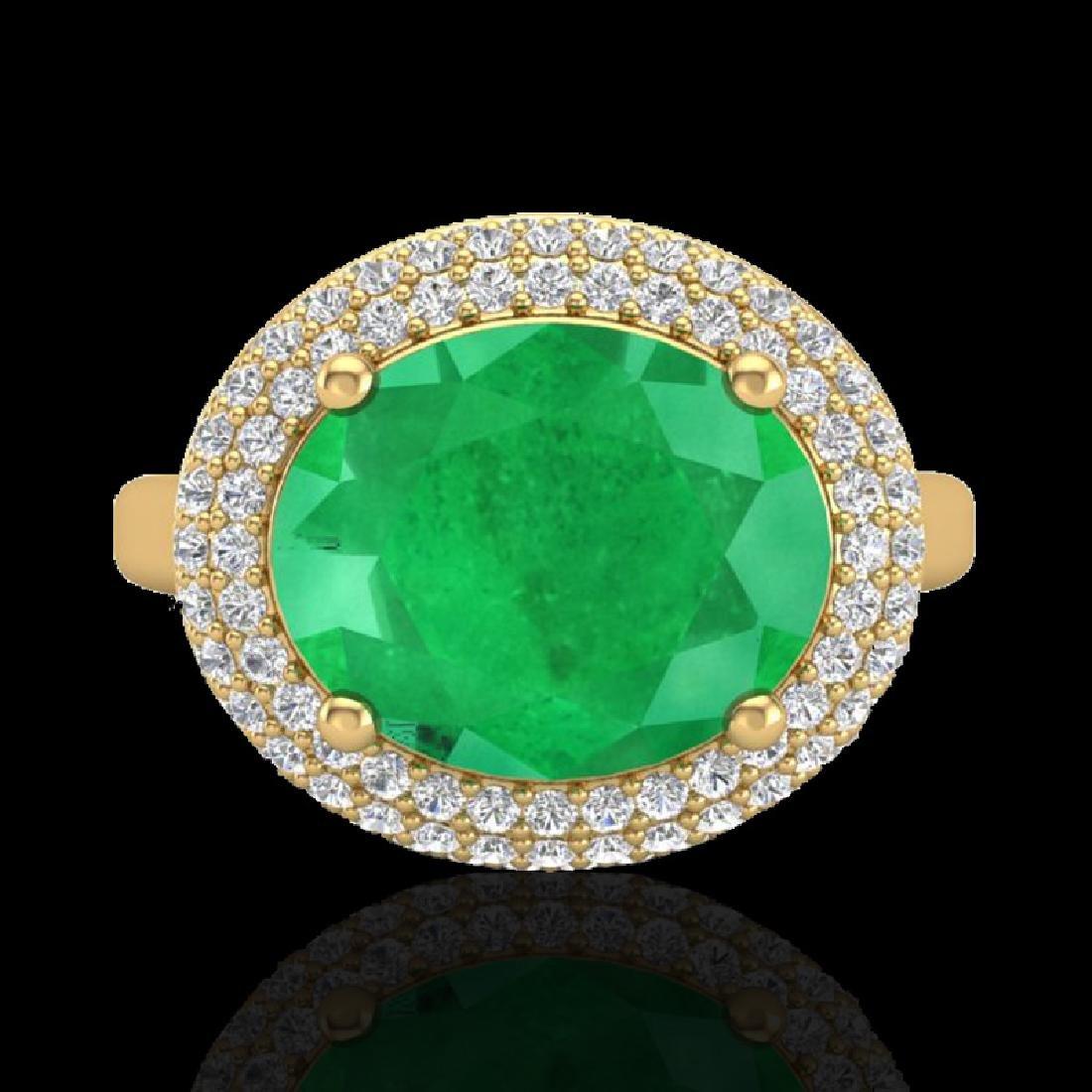 4.50 CTW Emerald & Micro Pave VS/SI Diamond Certified - 2