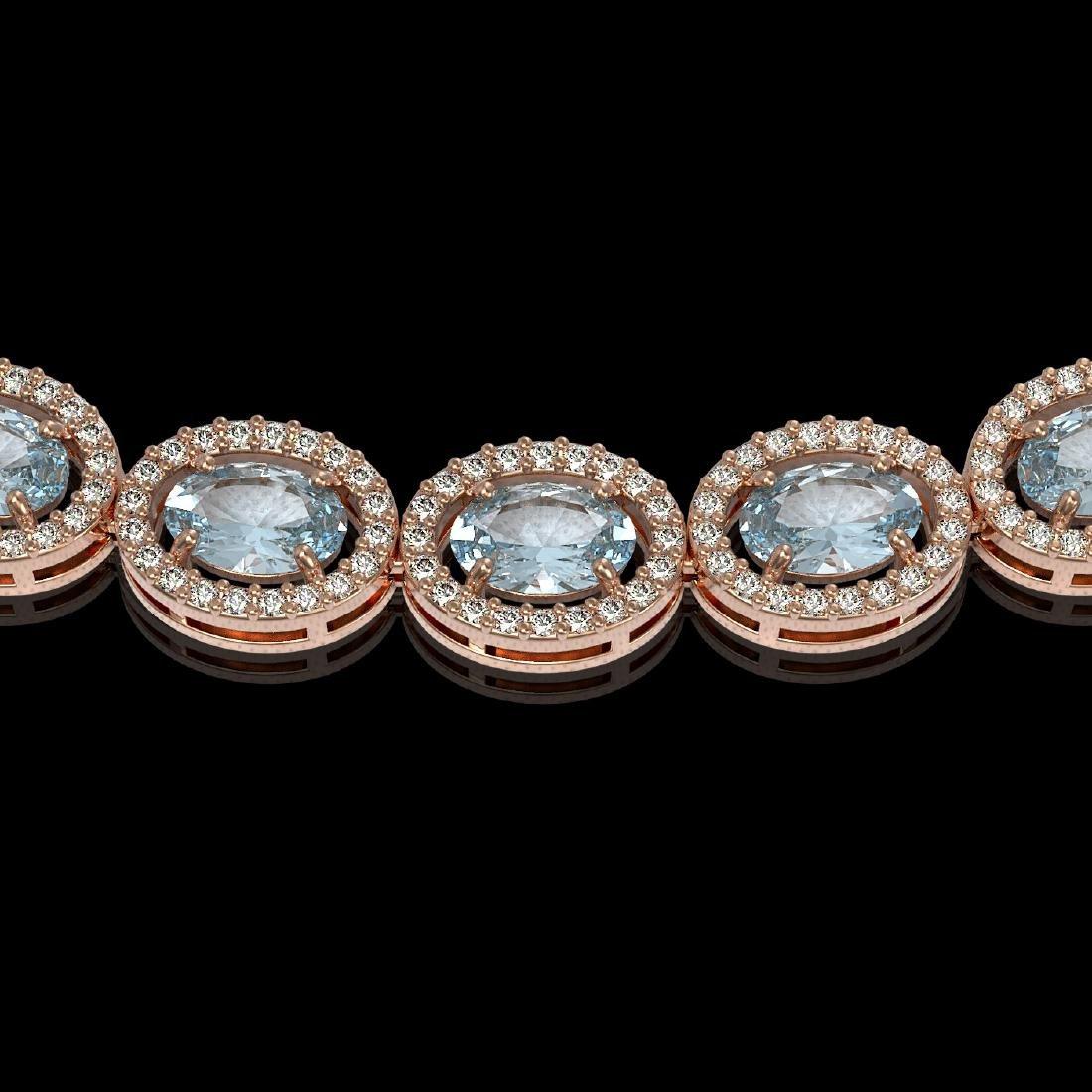 24.65 CTW Aquamarine & Diamond Necklace Rose Gold 10K - 3