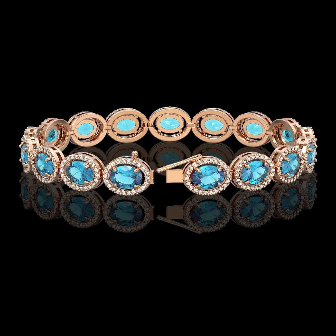 24.32 CTW Swiss Topaz & Diamond Bracelet Rose Gold 10K - 2