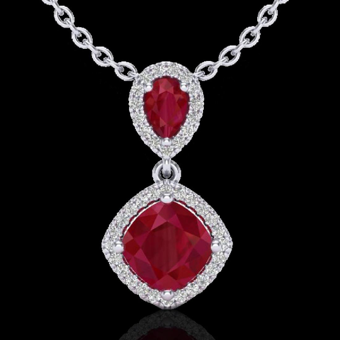 3.50 CTW Ruby & Micro Pave VS/SI Diamond Certified