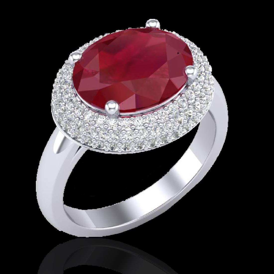 4.50 CTW Ruby & Micro Pave VS/SI Diamond Certified Ring