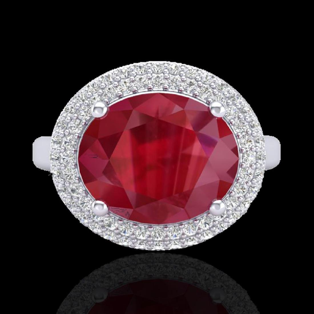 4.50 CTW Ruby & Micro Pave VS/SI Diamond Certified Ring - 2