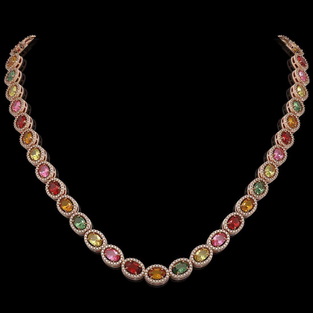 31.96 CTW Multi Color Sapphire & Diamond Necklace 10K