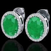 550 CTW Emerald  Micro VSSI Diamond Halo Earrings