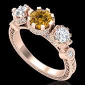 175 CTW Intense Fancy Yellow Diamond Art Deco 3 Stone