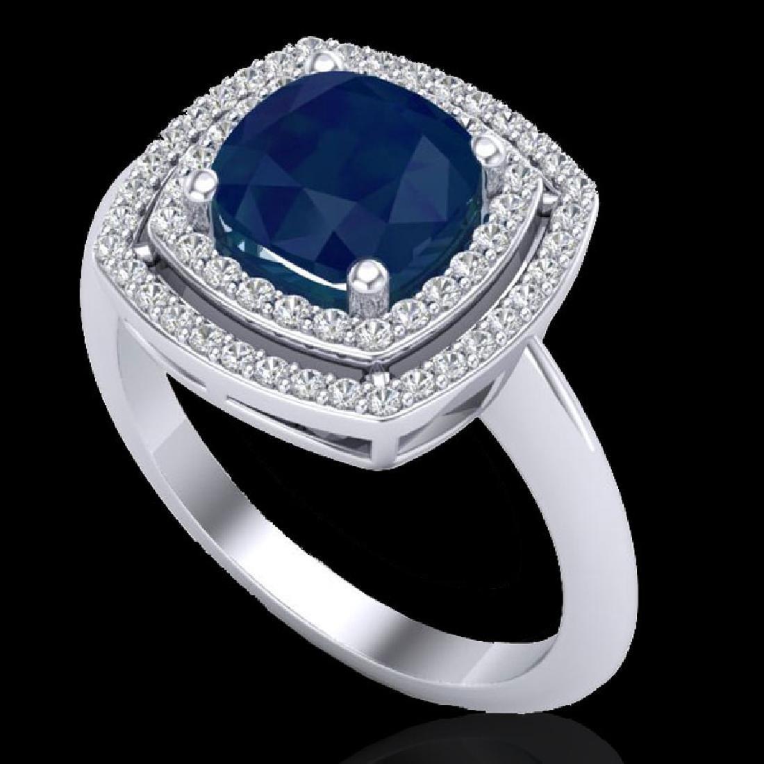2.52 CTW Sapphire & Micro VS/SI Diamond Certified Pave - 2