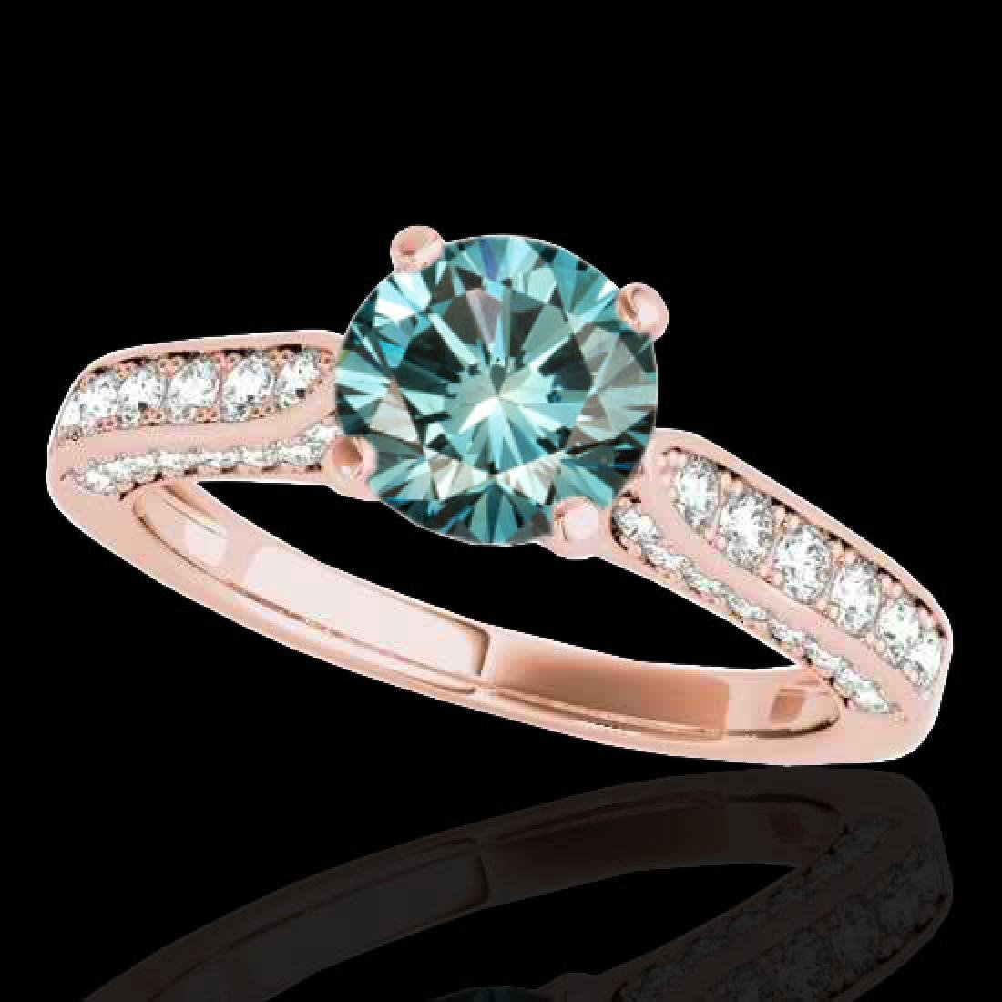 1.60 CTW SI Certified Fancy Blue Diamond Solitaire Ring