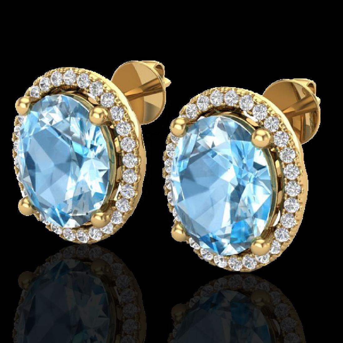 6 CTW Sky Blue Topaz & Micro VS/SI Diamond Certified