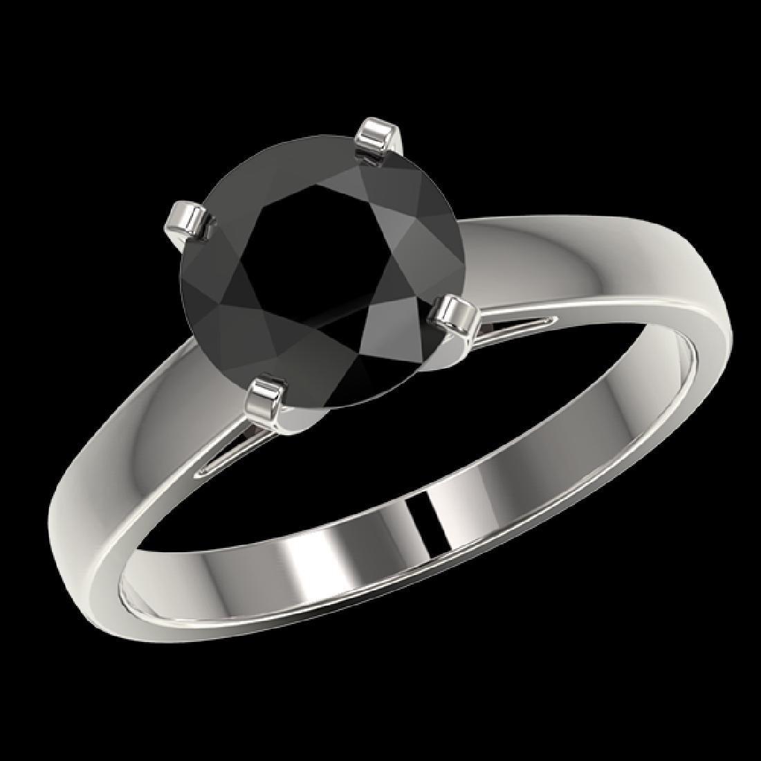 2 CTW Fancy Black VS Diamond Solitaire Engagement Ring - 2