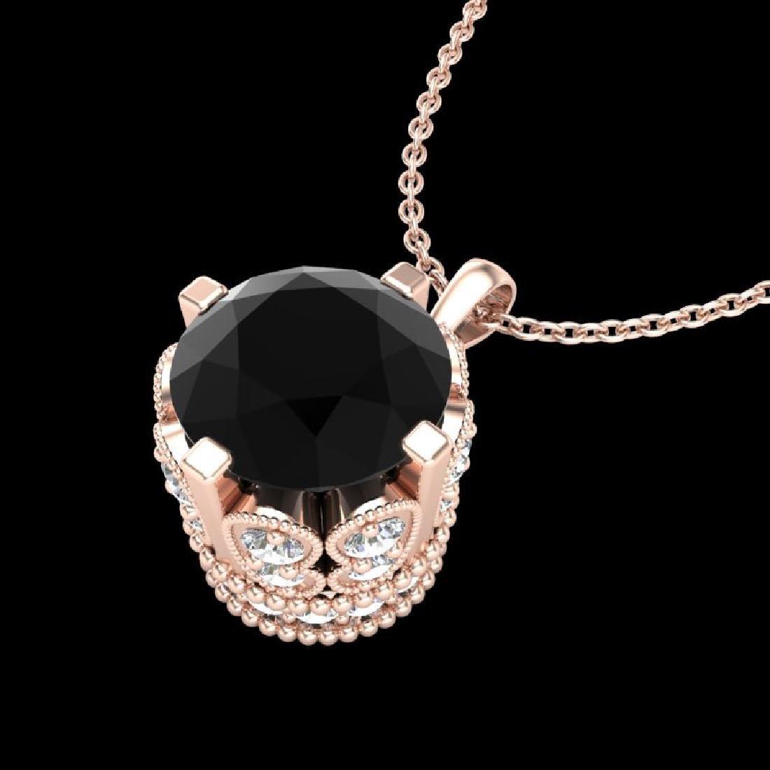 1.50 CTW Fancy Black Diamond Solitaire Art Deco Stud - 2