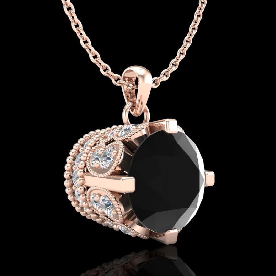 1.50 CTW Fancy Black Diamond Solitaire Art Deco Stud - 3