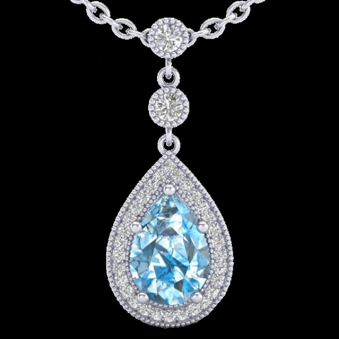 2.25 CTW Sky Blue Topaz & Micro Pave VS/SI Diamond - 2