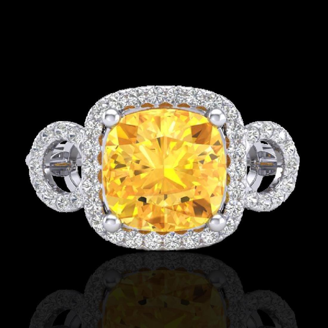 3.75 CTW Citrine & Micro VS/SI Diamond Certified Ring