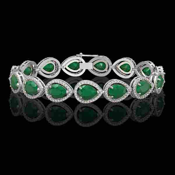 3006 CTW Emerald Diamond Halo Bracelet 10K White