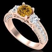 207 CTW Intense Fancy Yellow Diamond Art Deco 3 Stone