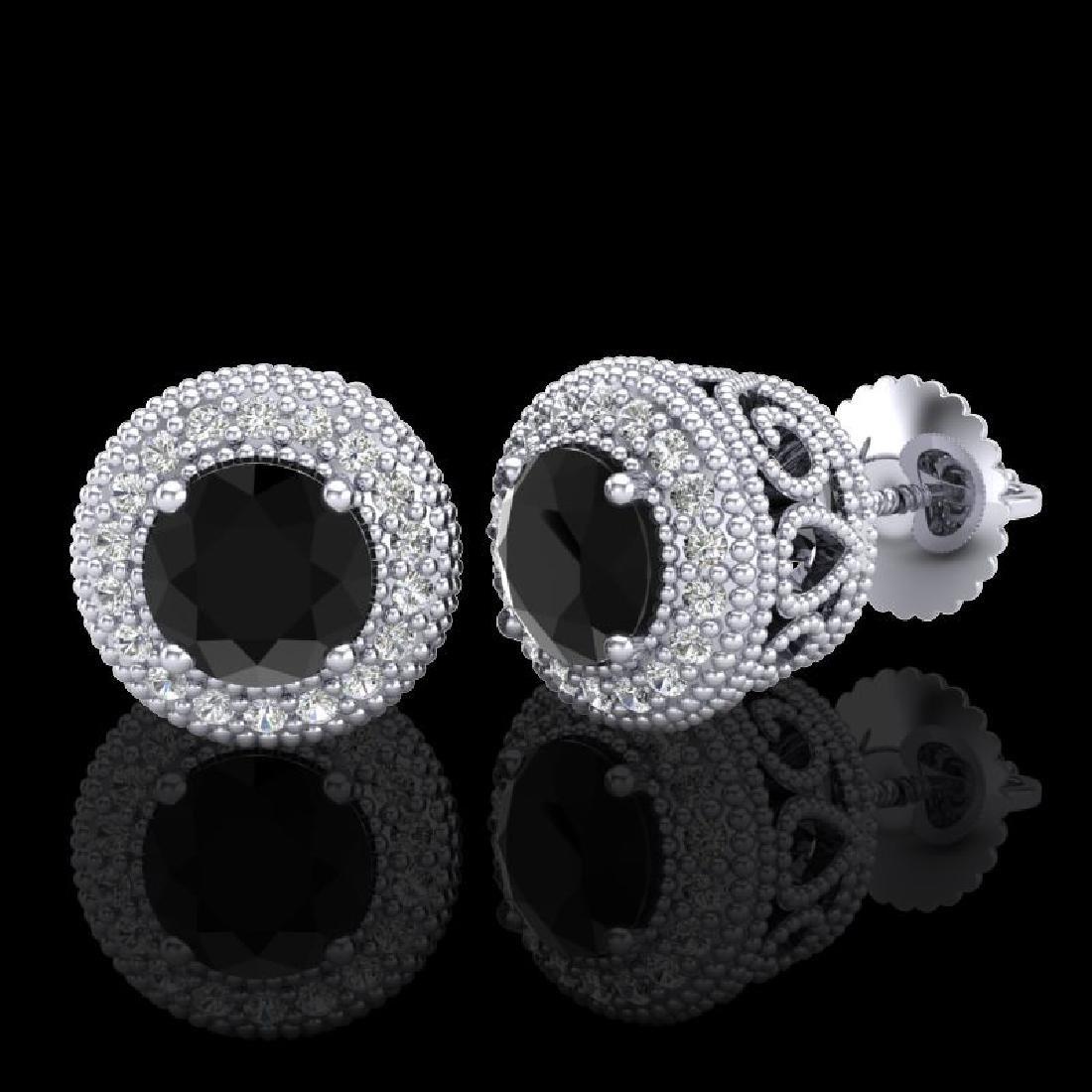 1.55 CTW Fancy Black Diamond Solitaire Art Deco Stud - 2
